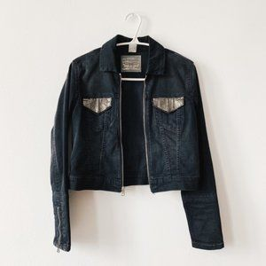 Levi's Black Cropped Gold Jean Jacket